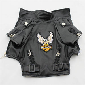 Glorious Eagle Pattern Dog Coat PU Leather Jacket Soft Waterproof Outdoor Puppy Outerwear Fashion Clothes For Small Pets