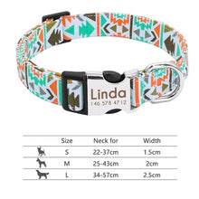 Load image into Gallery viewer, Nylon Dog Collar Personalized Pet Collar Engraved ID Tag Nameplate Reflective for Small Medium Large Dogs