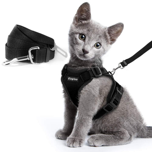 Escape Proof Cat Vest Harness Collar and Car Seat Belt Adapter Adjustable Reflective Harness Soft Mesh Leash for Cat Kitten Puppy