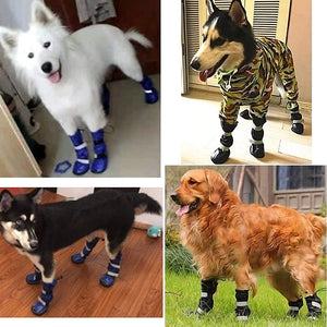 Durable Waterproof Medium to Big Dog Boots Winter Comfortable Adjustable Reflective Nonslip Rubber Sole