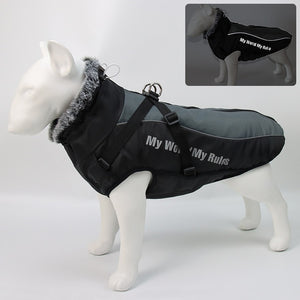 Large Dog Jacket Fur Collar Winter Dog Coat Waterproof Big Dog Coat with Removable Harness