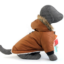 Load image into Gallery viewer, Waterproof Dog Coat Faux Fur Collar Dog Jacket Winter Warm Coat with Hood for Small Medium Dogs