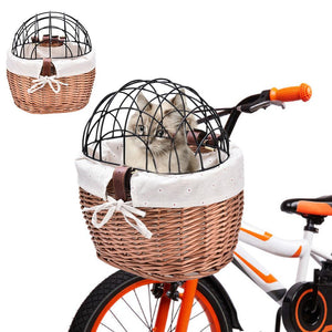 Dog Bicycle Basket Seat Pet Basket Front Removable Bike Basket Carrier for Pets