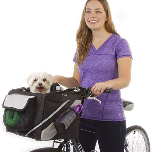2 In 1 Pet Bicycle Carrier Dog Bike Bag Small Pet Travel Basket