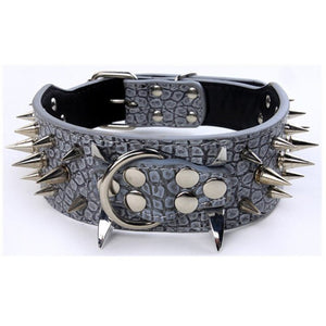 "2"" Wide Spiked Dog Collar Leather Collar Adjustable for Medium to Large Dogs"