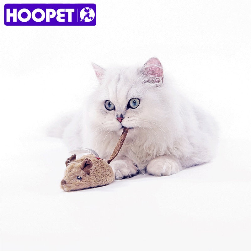 HOOPET Pet Cat Toy Plush Electronic Mouse Squeaky Toy Kitty Teasing Cat Chew Interactive Toy