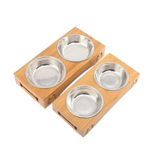 Load image into Gallery viewer, Pawstrip Pet Double Dog Bowl Bamboo Stainless Steel Ceramic Cat Bowl Dog Food Bowl Feeding Feeder Water Bowl