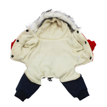 Load image into Gallery viewer, Pawstrip Soft Winter Dog Clothes Puppy Jumpsuit Clothing Warm Dog Coat With Hood Fur Collar Pet Apparel Winter Dog Outfits S-XXL