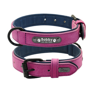 Leather Dog Collar Leash Set Personalized Customized 2 Layer Leather Dog Leash For Small Medium Large Dogs