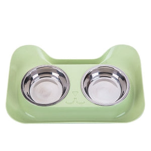 1Pc Durable Double Stainless Steel Dog Cat Bowls with Non-spill & Non-skid Design for Pet Food and Water Elevated Feeder #290914