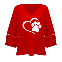 Load image into Gallery viewer, Dog Paw Print Women Sexy V-neck Splicing Hollow Plus Size T-Shirt Female Tops Half Sleeve Shirts