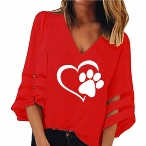 Dog Paw Print Women Sexy V-neck Splicing Hollow Plus Size T-Shirt Female Tops Half Sleeve Shirts