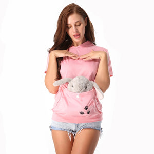 Cat Lovers Hoodie Kangaroo Pouch Dog Pet Paw Pullovers Cuddle Pouch Sweatshirt Pocket Animal Ear Hooded