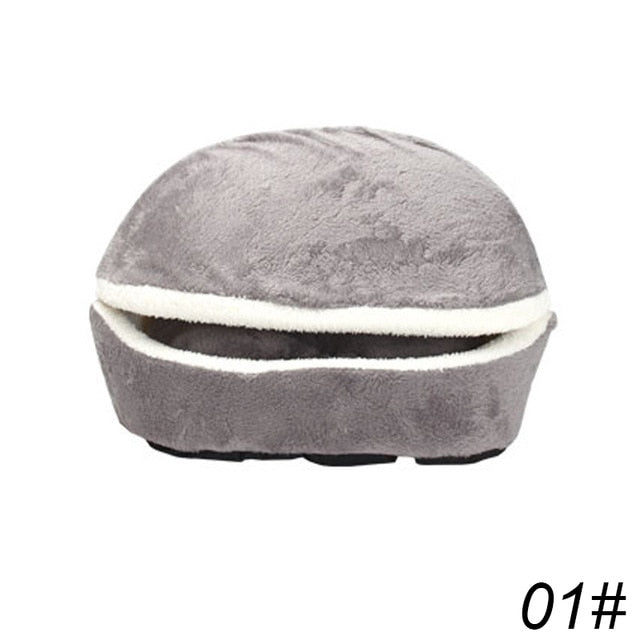 Removable Cat Sleeping Bag Sofas Mat Hamburger Dog House Short Plush Small Pet Bed Warm Puppy Kennel Nest Cushion