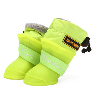 Dog Rain Boots for Small Medium Dogs Waterproof Dog Shoes Winter Snow Boots for Dogs Fleece Soft Silicon Adjustable Anti-Slip