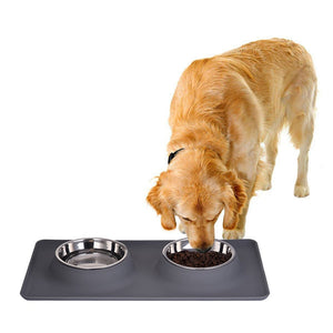 Pet Feeder Stainless Steel Double Bowl comedero Travel Water Bowl Non-Skid Silicone Mat For Pet Dog Cat Puppy Food Water Dish