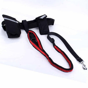JORMEL Hand Free Pet Dogs Waist Leash for Running Elasticity Adjustable Dog Harness Collar Jogging Walking Leads with Food Bag
