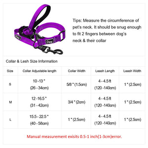 Reflective Dog Collar and Leash Set Nylon Pet Collar Dog Leash Lead Training Running Walking Leashes for Small Medium Large Dogs