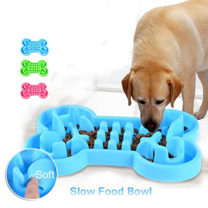 Pet Dog Bowl Healthy Soft Rubber Slow Food Feeder Anti Choke Travel Bowl