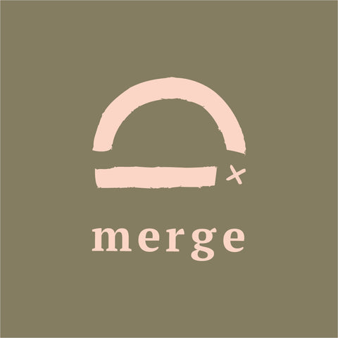 Merge Main logo, arch with a X, represent tofino scenery sunset