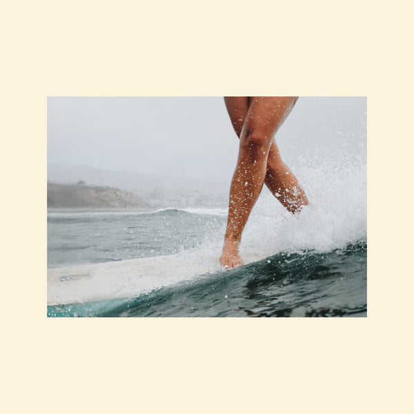 Surfer Girl Cross Stepping Longboarding | Print