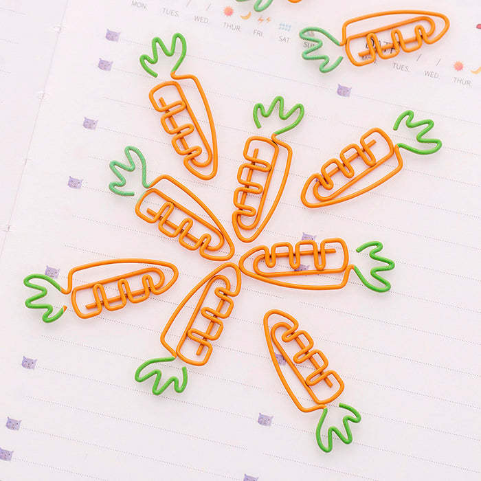 Kawaii  Japanese  Korean Super Cute Carrot Shape Paper Clip Creative Girl Heart Paper Clip Simple Stationery Bookmark pin