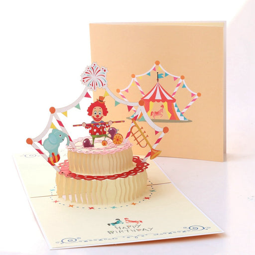 Kawaii Japanese Korean birthday three-dimensional card clown cake Korean creative 3D handmade paper sculpture