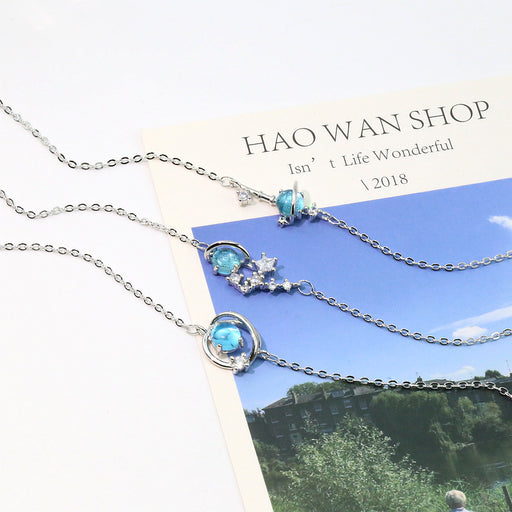 Japanese  Korean Blue Crystal Planet Bracelet