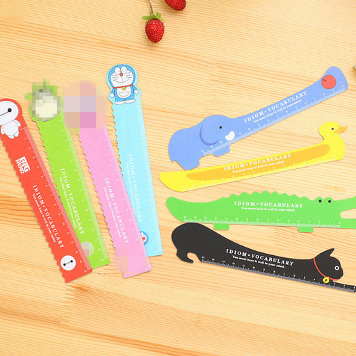 Kawaii  Japanese  Korean Cartoon Magnetic Straightedge Animal Gray Cat Office Bendable Magnet 15CM Ruler