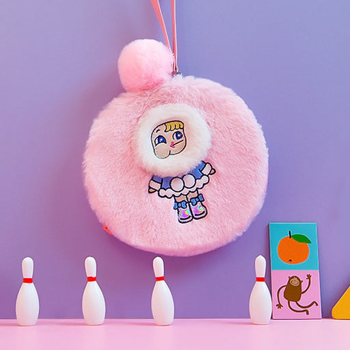 Cuddly plush round clutch harajuku style instagram style girl cute zero purse
