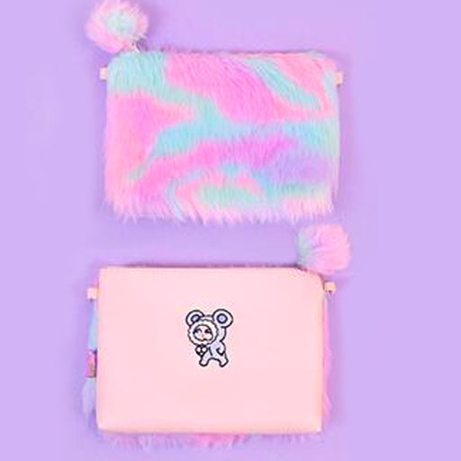 Kawaii Korean Japanese Bentoy Bang Bang Rainbow Plush Messenger Girl Heart Harajuku Style Cute Mobile Phone Shoulder Bag