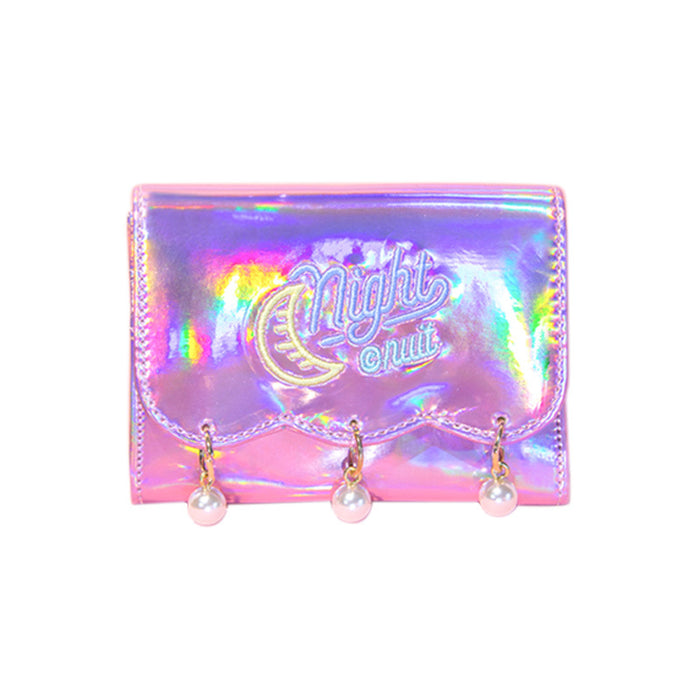 Hypnotic pearl hanging ornaments short wallet girls heart colorful laser shine leather ins original