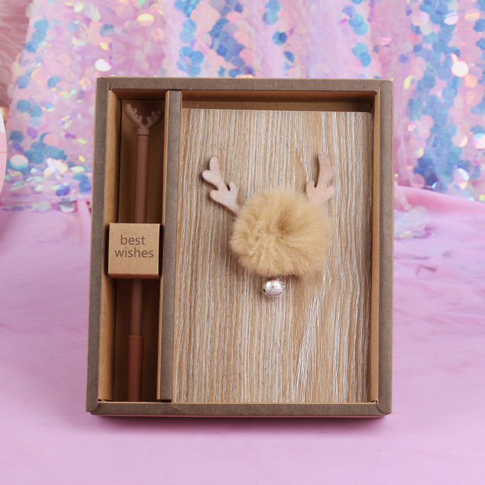 Wooden Music Deer Student Stationery Cartoon Hand Book Gift Box Set Holiday Gift Supplies Notebook Journal