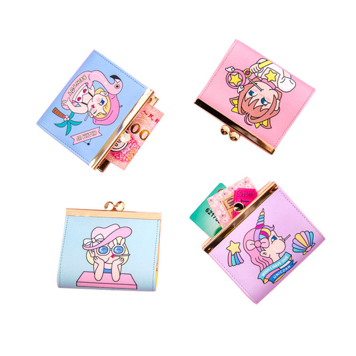 Kawaii Korean Japanese Bentoy Stick Metal Clip Coin Cute Cartoon Ladies Harajuku Student Wallet
