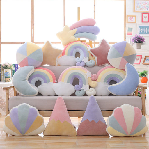 Kawaii  Japanese  Korean -Cute pink bedside rainbow cushion girl heart pillow