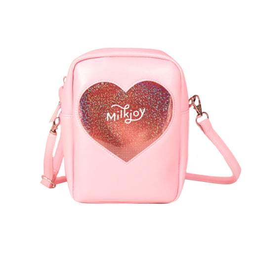 Kawaii Korean Japanese Milkjoy Diamond Love Messenger Harajuku Laser Transparent Wind Girl Shoulder Bag