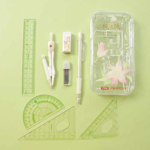 Kawaii  Japanese  Korean 8-piece set of ruler and protractor for professional drawing