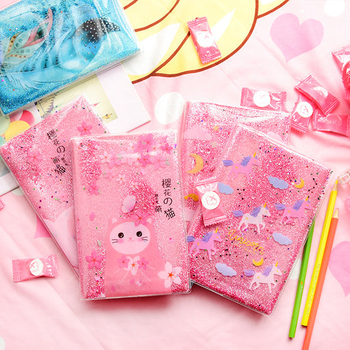 Kawai Japanese Korean Pink fresh girl heart sequins dream quicksand notebook