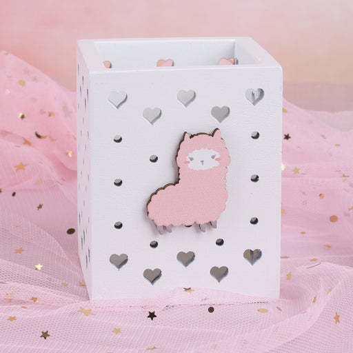 Girl Alpaca Wooden Gift Home Desktop Decoration Student Stationery Boutique Pen Holder