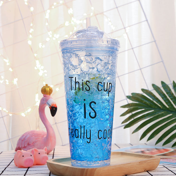 Kawaii  Japanese  Korean  Double-layer straw drinking cup with lid