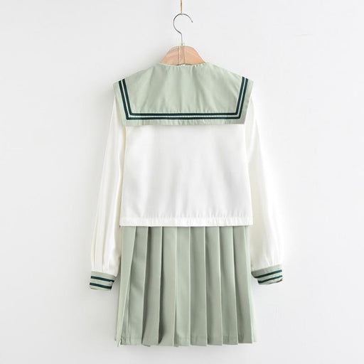 Japanese school uniform tea green jk sailor suit pleated skirt suit