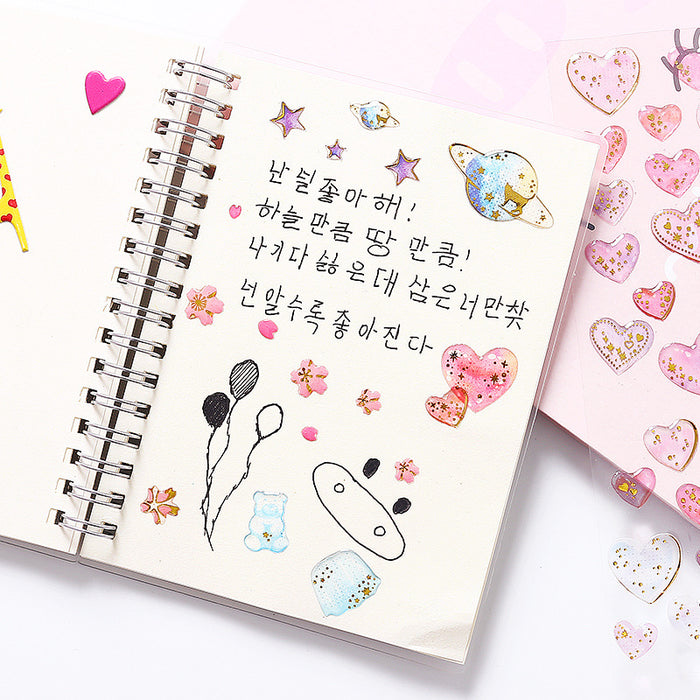 Kawaii  Japanese and Korean Fantasy Crystal Gold Transparent Three-dimensional Sticker Sticker