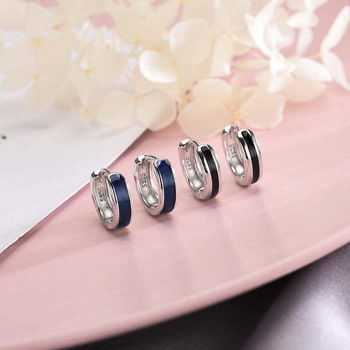 Kawaii  Japanese  Korean  -S925 silver round black and white earrings