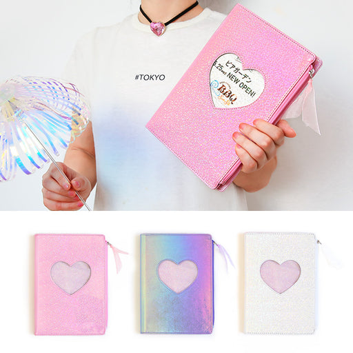 Kawaii Korean milkjoy diamond love laser harajuku style girl style peach heart zipper diary