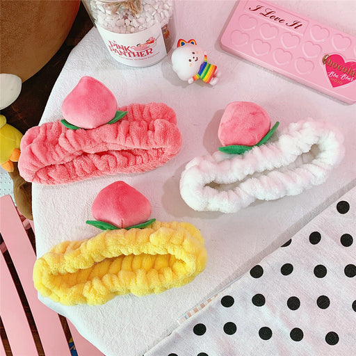 Kawaii  Japanese  Korean -Peach pink elastic girl fruit mask headband