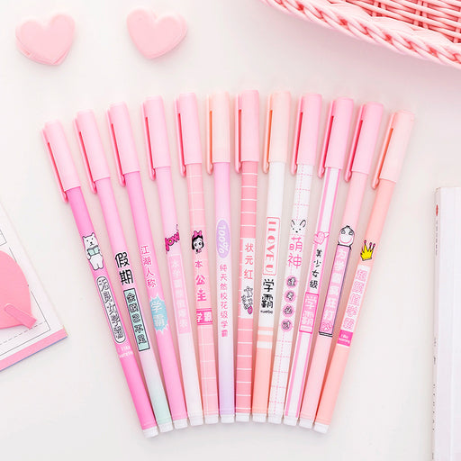 Kawaii  Japanese  Korean   Girly Heart Pink Series Cute Small Fresh Black Fountain Pen Sign Pen Stationery