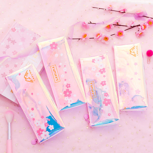 Kawaii Korean Japanese Laser Transparent Beautiful Pink Girl Heart Stationery Storage Pencil Case