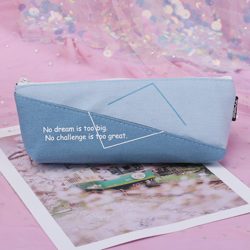 Creative Stationery Critical Point Triangle Plus Bag Large Capacity Storage Simple Text Pencil Case Pen Holder