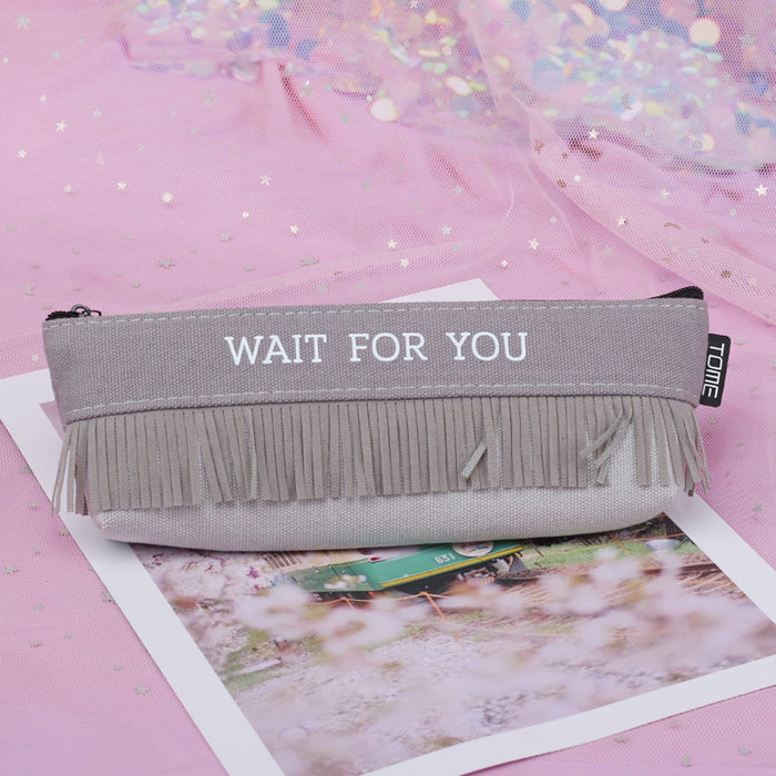 Creative Stationery English Flow Triangle Bag Large Capacity Storage Simple Text Pen Holder