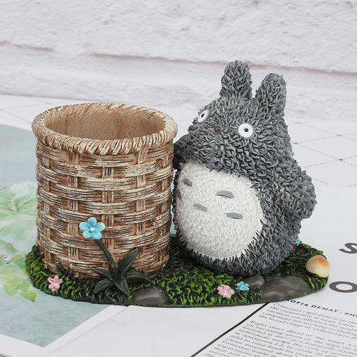 Totoro Stationery Ornament Cartoon Resin Crafts Student Gift Pen Holder